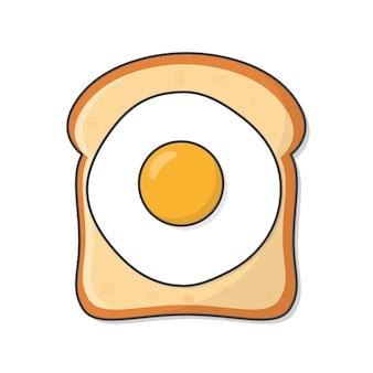 Fetta di pane tostato con uovo fritto