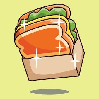 Toast di razza con insalata e formaggio icona vettore concept design. vettore gratuito