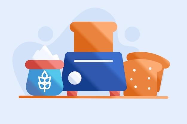 Illustrazione di tostapane e pane