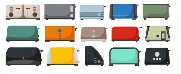 Illustrazione di tostapane su sfondo bianco. macchina da toast icona set di cartoni animati. fumetto imposta icona tostapane.