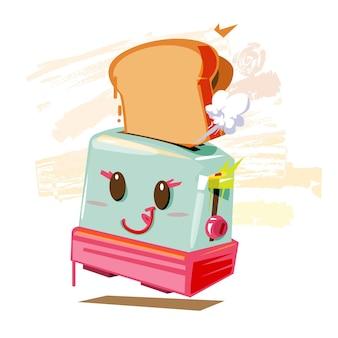Tostapane con pane in stile cartone animato. concetto di colazione