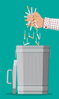 Abuso di tabacco concetto. mano mettendo le sigarette nel cestino. vietato fumare. rifiuto, proposta fumata. illustrazione vettoriale in stile piatto.