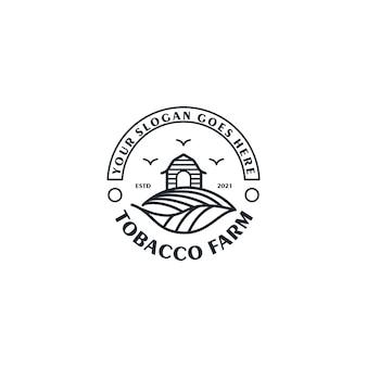Fattoria di tabacco, logo vintage con line art, per riferimento aziendale