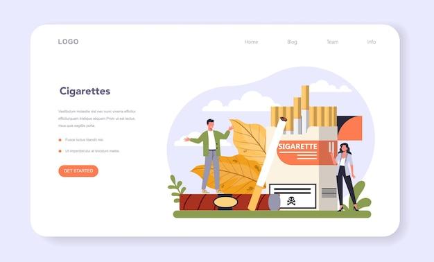Settore dell'industria della produzione del tabacco dell'economia banner web o landing page