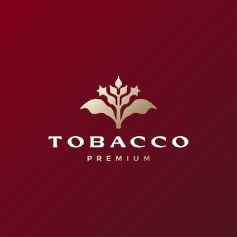 Illustrazione dell'icona di vettore del logo della sigaretta del fiore dell'albero del tabacco Vettore Premium
