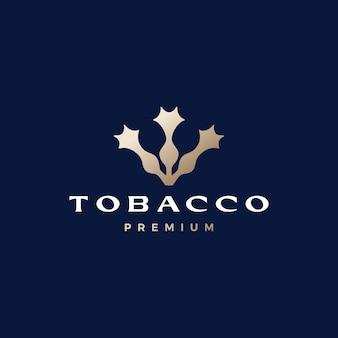 Illustrazione dell'icona di vettore del logo della sigaretta del fiore dell'albero del tabacco