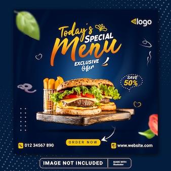 Modello di banner post instagram social media di promozione del menu di oggi o volantino quadrato