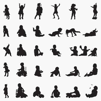 Illustrazione di sagome di attività del bambino del bambino