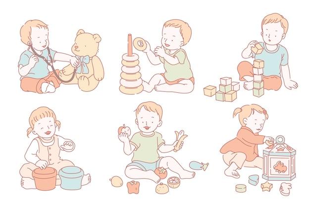 I bambini che giocano con i propri giocattoli in stile linea