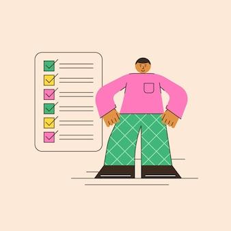 Obiettivi dell'elenco delle cose da fare metodo di pianificazione attività completate gli elementi sono contrassegnati con un segno di spunta nell'elenco illustrazione astratta della pianificazione in uno stile piatto minimalista