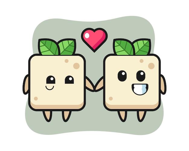 Coppia di personaggi dei cartoni animati del tofu con innamoramento gesto, design in stile carino per t-shirt