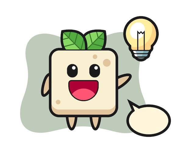 Personaggio dei cartoni animati di tofu che ottiene l'idea, design in stile carino per maglietta