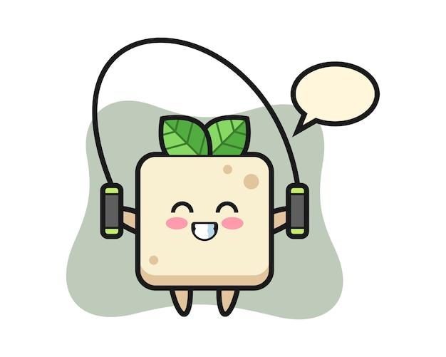 Personaggio dei cartoni animati di tofu con la corda per saltare, design in stile carino per maglietta