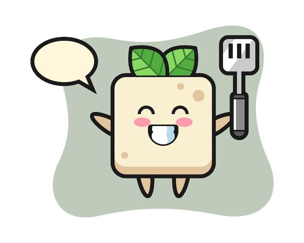 Illustrazione del personaggio del tofu come chef sta cucinando, design in stile carino per t-shirt