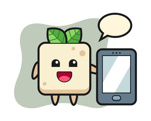 Fumetto dell'illustrazione del tofu che tiene uno smartphone, progettazione sveglia di stile per la maglietta