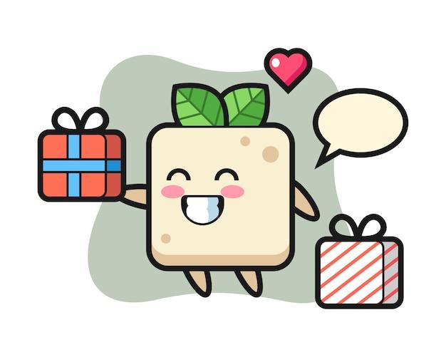 Mascotte del tofu cartoon dando il regalo, design in stile carino per t-shirt