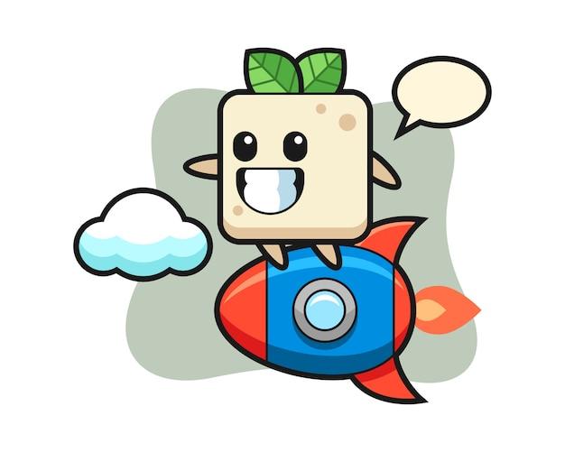 Personaggio mascotte tofu in sella a un razzo, design in stile carino per maglietta