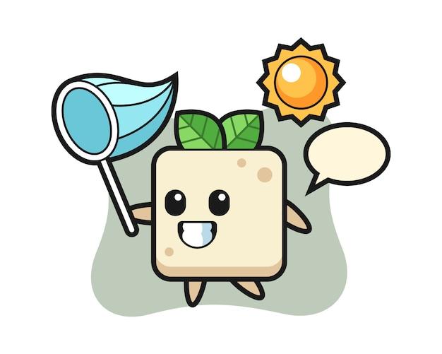 L'illustrazione della mascotte del tofu sta catturando la farfalla, design in stile carino per la maglietta