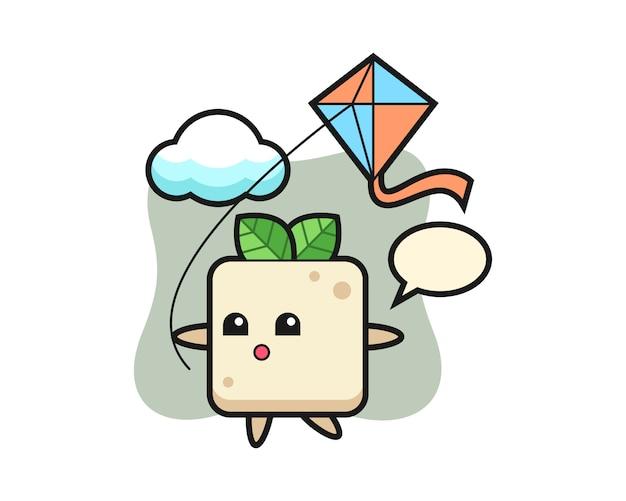 L'illustrazione della mascotte del tofu sta giocando l'aquilone, design in stile carino per la maglietta