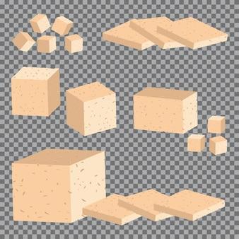 Insieme del fumetto di vettore del tofu isolato