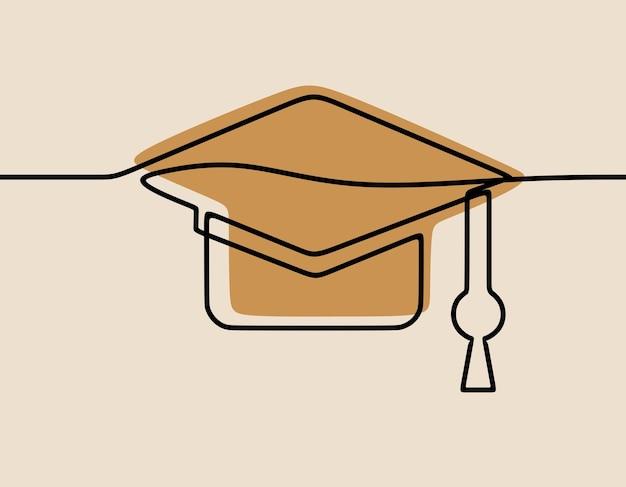 Toga hat education oneline continue line art