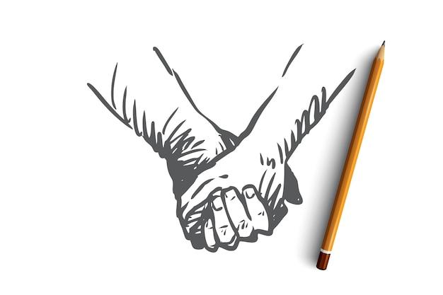 Insieme, mani, amicizia, amore, concetto di partnership. persone disegnate a mano che agitano le mani o che tengono le mani schizzo di concetto.