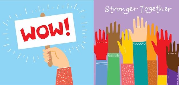 Insieme siamo più forti e le mani che si toccano disegnano persone multietniche di razza e comunità...