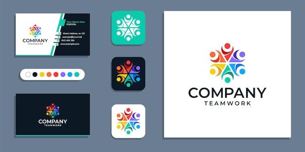 Insieme, lavoro di squadra, logo aziendale di unità di persone e modello di ispirazione per il design del biglietto da visita
