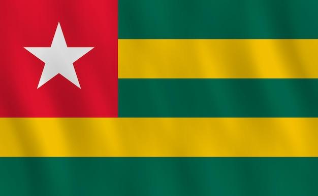 Bandiera del togo con effetto sventolante, proporzione ufficiale.