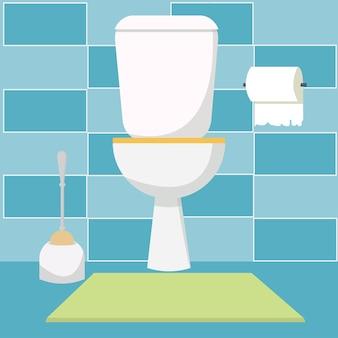 Interno della toilette con carta igienica luogo moderno, confortevole e pulito