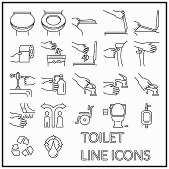 Linea grafica di icone di servizi igienici per decorazioni di media e pattern