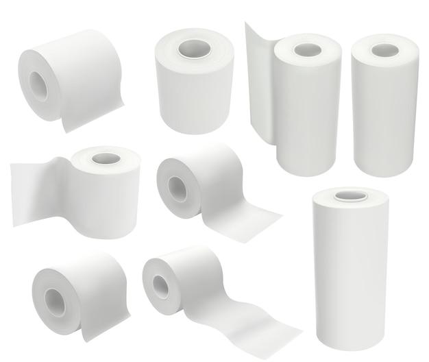 Rotolo di carta igienica isolato su priorità bassa bianca. mock up illustrazione vettoriale del pacchetto in stile realistico 3d. set di fazzoletti igienici e strofinacci da cucina.