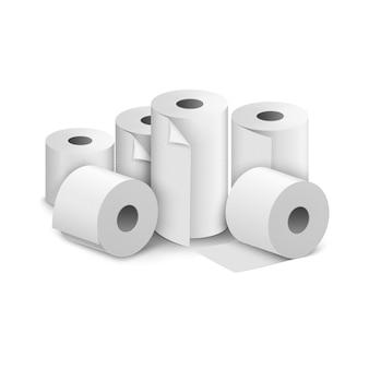 Rotolo di carta igienica. l'icona dell'asciugamano della toilette ha isolato l'illustrazione realistica. carta bianca per wc da cucina.