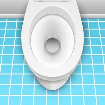 Illustrazione bianca del modello della toilette isolata. toilette in bagno pulito. igiene domestica