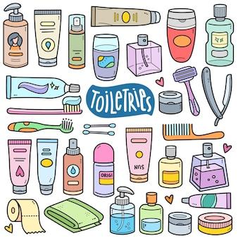 Elementi di grafica vettoriale colorati per articoli da toeletta e illustrazioni scarabocchiate