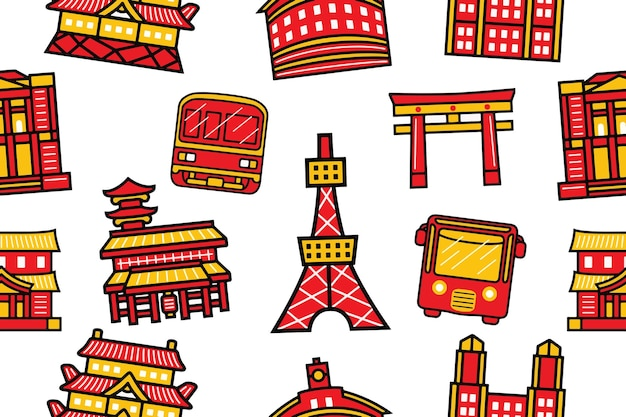Tokyo city seamless pattern in stile design piatto