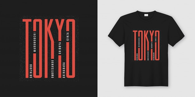 T-shirt alla moda di tokyo e abbigliamento dal design tipografico