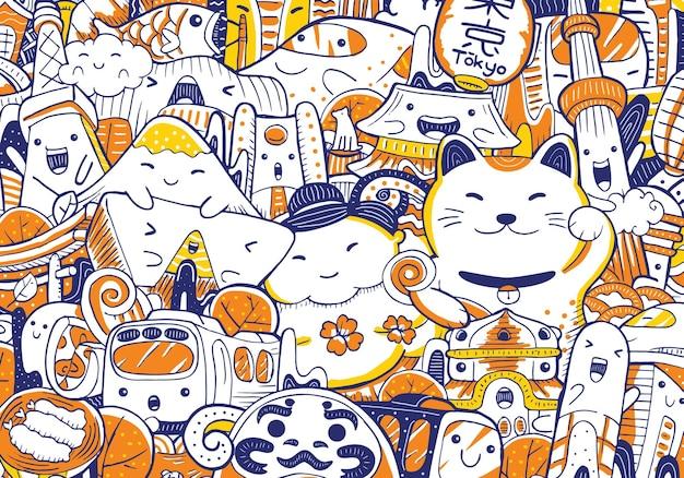 Scarabocchio del paesaggio urbano di tokyo in stile design piatto