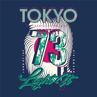 Tokyo illumina il design della tipografia grafica per la maglietta stampata