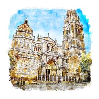 Illustrazione disegnata a mano di schizzo dell'acquerello di toledo spagna