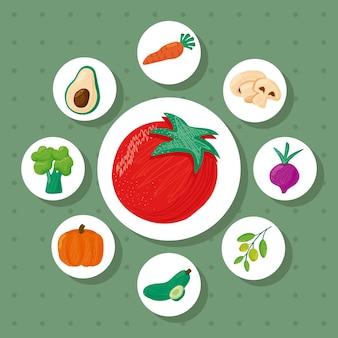 Pomodoro e un fascio di otto verdure cibo sano icone illustrazione