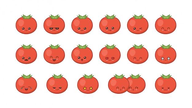 Simpatico mascotte kawaii di pomodoro. impostare facce di cibo kawaii