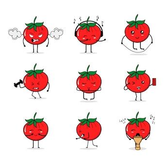 Caricatura del fumetto dell'icona della frutta del pomodoro che fa tamburo del gioco della palestra di sport di attività quotidiana che fa yoga che canta dancing allegro felice felice del selfie di musica di canto