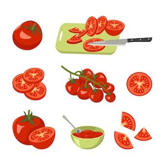 Icone di pomodoro impostare rosso brillante verdure intere metà spicchi o su un tagliere di ramo con un coltello...