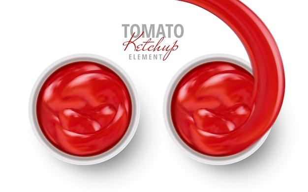 Salsa di ketchup di pomodoro contenuta nell'illustrazione 3d sfondo bianco piatti