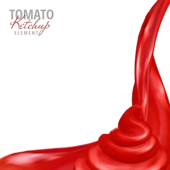 Salsa di ketchup di pomodoro versando giù sfondo bianco 3d'illustrazione