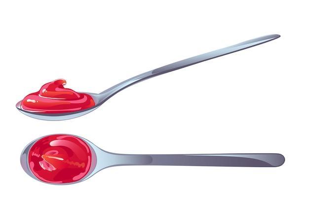 Ketchup di pomodoro in cucchiaio. salsa piccante rossa in forma di vortice. illustrazione di vettore nel disegno del fumetto piatto.