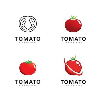Disegno dell'illustrazione dell'icona di vettore del logo del pomodoro