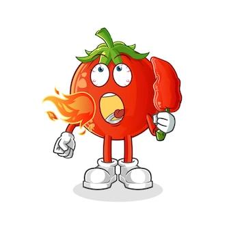 La mascotte del pomodoro mangia i peperoncini rossi caldi