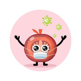 Logo del simpatico personaggio del virus della maschera di pomodoro